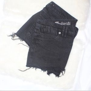 Madewell Black Raw Hem Short Shorts